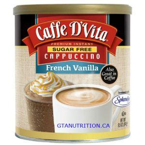 Caffe D Vita Sugar Free Cappuccino French Vanilla 8.5oz. Low Carb, Sugar Free, Gluten Free, No Hydrogenated Oil, No Cholesterol, Diabetic Friendly, 99% Caffeine Free, Kosher.