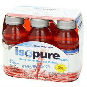 Isopure Plus Zero Carb Protein Drink Alpine Punch 6x237ml. High Protein, Lactose Free, Gluten Free, Low Fat, Sugar Free, Easy To Digest, Not Thick Heavy.