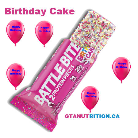 Battle Bites Protein Bar Birthday Cake 62g | Low In Sugar 1.5g per bits, GMO FREE, Tastiest Low Carb Protein Bar In The Market - Made In Britain