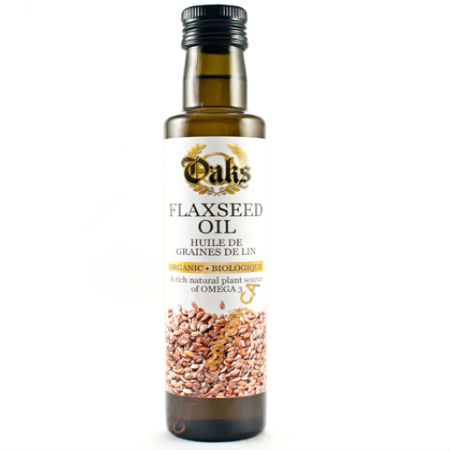 """Oaks Organic Flaxseed Oil 250ml. Grown In The Heart Of The Canadian Prairies """"good fats. Ideal oil for All Diet. Kosher"""