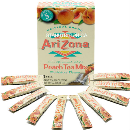 Arizona Peach Tea Mix With Natural Flavors 10 stix. Herbal Tea, Sugar Free, Low Calories, Kosher