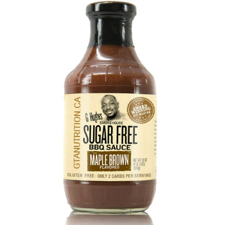 G Hughes Sugar Free BBQ Sauce Maple Brown 510g. Sugar free, Gluten-free.