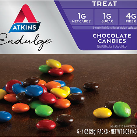 Atkins Endulge – Chocolate Candies Rich and smooth chocolate dipped in a candy shell that will satisfy your sweet tooth.