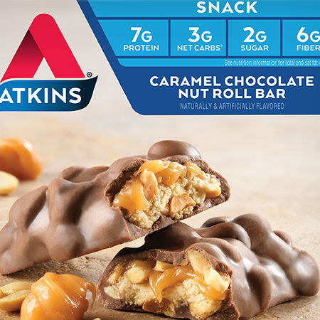Atkins Snack Bar - Caramel Chocolaty Nut Roll high protein and fiber, No artificial colors, Rich taste, Low carb, Source of calcium and potassium