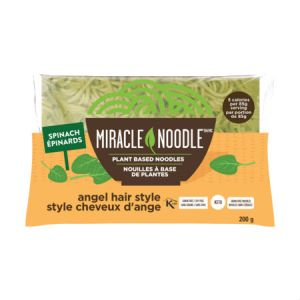 Miracle Noodle Spinach 200g  . Guilt Free Noodle, Low Calories & Carb, Low Sodium, Cholesterol Free, Soy Free, Gluten Free, Vegan, NON GMO, Kosher
