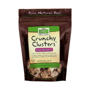 Now Real Food Crunchy Clusters Cranberry-Blueberry 227g . Dry-roasted, Slightly sweetened snack, No Artificial Colors, Flavors or Preservatives, NON GMO, Egg Free, Low Sodium, Dairy Free, Corn Free, Vegan, Vegetarian.
