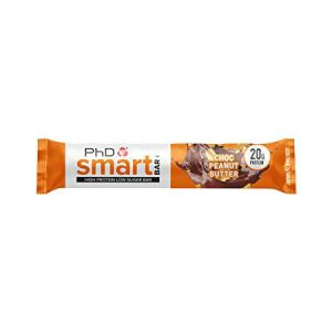 PhD Smart Bar - Chocolate Peanut Butter 64g. The  Smart Bar is perfect for on-the-go snacking. Still delivering the same great taste with 20g grams of quality protein and only 1.9g sugar, you can enjoy the comfort of a chocolate bar whilst keeping your macros intact. Smart Bar contains a super-soft protein centre that is coated in gooey caramel and protein crispies, which truly delivers a satisfying texture and taste.