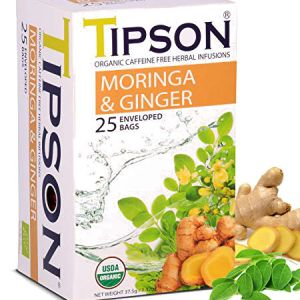 Tipson Organic Moringa & Ginger Tea l Caffeine Free Herbal Infusions, USDA Organic, Zero carb, Low calorie, Fat free, Sugar free..