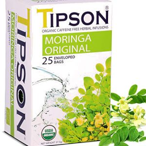 Tipson Organic Moringa Original Tea l Caffeine Free Herbal Infusions, USDA Organic, Zero carb, Low calorie, Fat free, Sugar free..