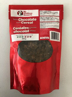 My Guiltless Desserts Yummy Chocolate Krunch Cereal 255g. Keto, paleo, diabetic friendly. NO GMO, NO soy, NO dairy. Yummy and krunchy.