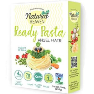 Natural Heaven Veggie Pasta Noodles Angle Hair Shape 255g. Gluten free, Vegan, Zero cholesterol, Non GMO, Low carb and calorie...