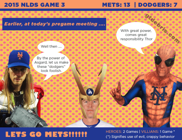 NLDS Game 4: Mets Superheroes Plan to annihilate the Mischievous Dodgers in Tonight's Showdown.