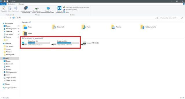 Explorateur de fichiers dans Windows 10