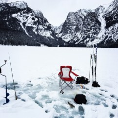 Fishing Chair Setup With Rod Holder Adventure Journal Ice In Gtnp Grand Teton National Park