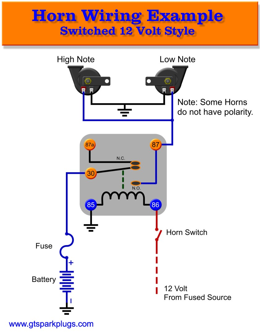 air horn wiring diagram with relay automotive diagrams symbols horns gtsparkplugs