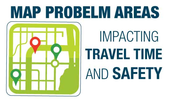 Map problem areas impacting travel time and safety