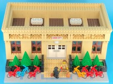A train station MOC shown off at the club's March 2018 meeting.
