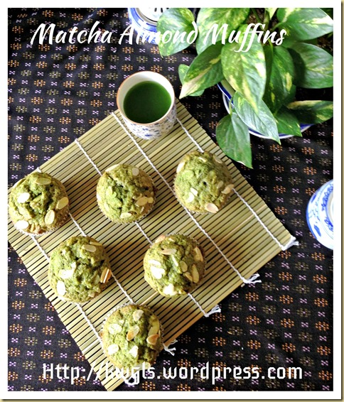 Vegetarian Matcha Almond Muffins (绿茶杏仁小松饼)