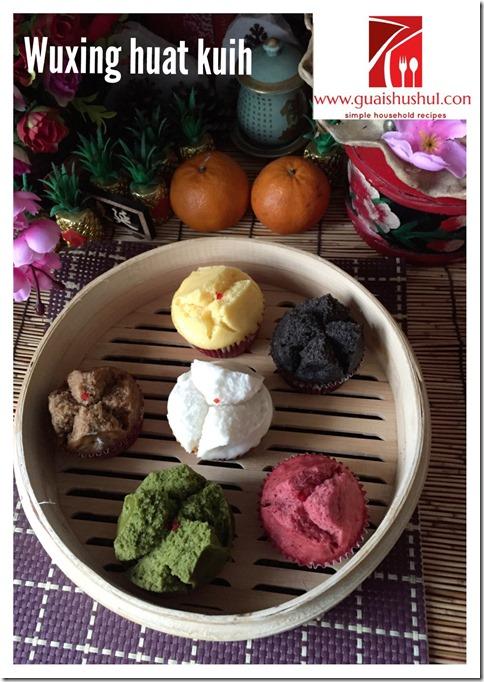 Chinese New Year Recipes: Natural Colouring 5 Elements Huat Kuih aka Wuxing Huat Kuih (天然色素吉祥五行发糕)