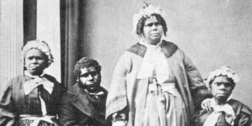 Tasmanian Aborigines c. 1860s. Photo courtesy of Wikimedia Commons.