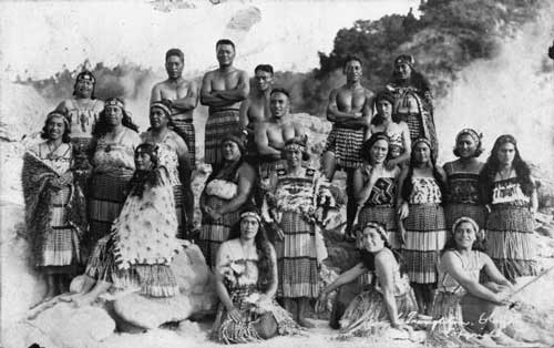 Members of the Tuhourangi tribe, within the Whakarewarewa Geothermal Valley. Photo courtesy of Te Puia, Rotorua NZ.