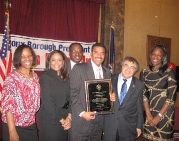 2010 - NY1's Dean Meminger (center) gave the keynote speech at the Bronx County Black History Month 2010 Celebration.