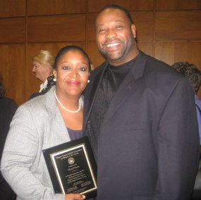 Nassau County Women in the Courts Honoree Clerk III Cheryl Davis and husband, Aristeed.