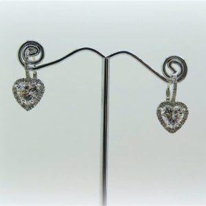Orecchini pendenti cuori monachella in argento 925