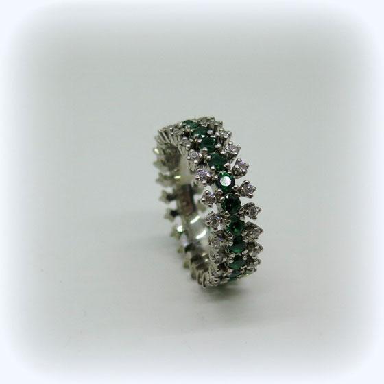 Anello donna in argento 925 eternity zirconi verde color smeraldo