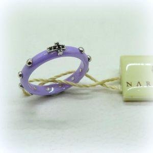 Anello rosario in ceramica viola oro e diamanti neri