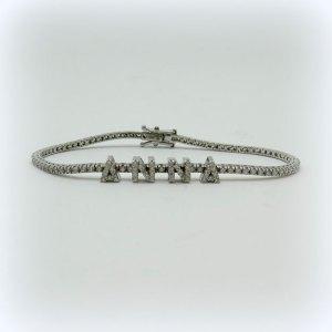 Bracciale tennis nome Anna in argento e pietre zirconi