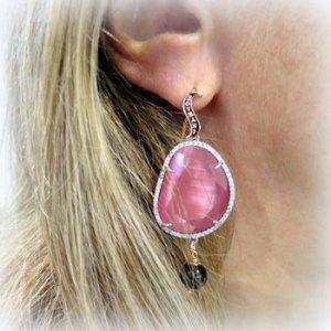 Orecchini pendenti cristallo rosè e contorno Sovrani Bijoux