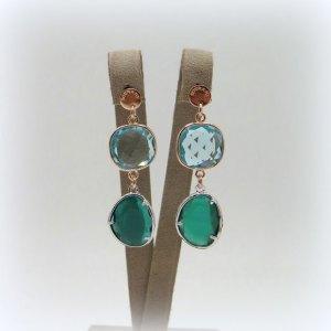 Orecchini Sovrani bijoux cristalli verde e azzurro acqua marina