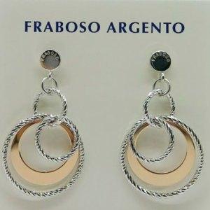 Orecchini pendenti fraboso argento bicolore