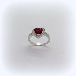 Anello cuore rosso in argento 925