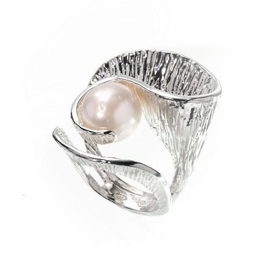 Anello curvy con perla Athena Gioielli in argento 925
