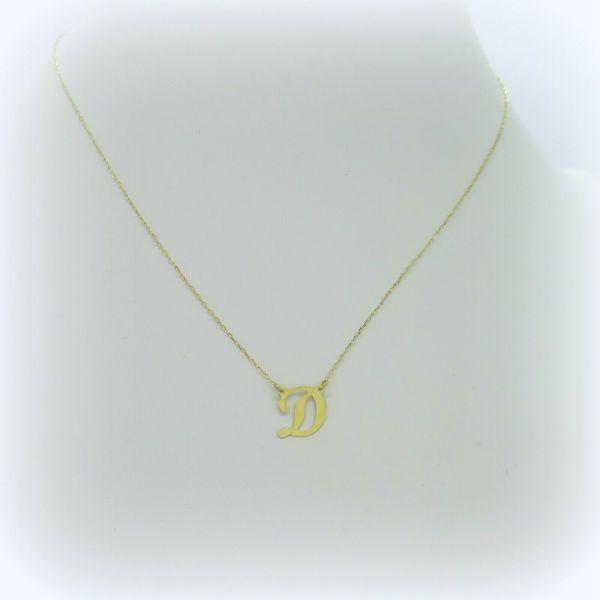 Collana lettera iniziale D in oro giallo 18 ct