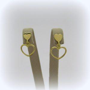 Orecchini pendenti cuore in oro 18 ct
