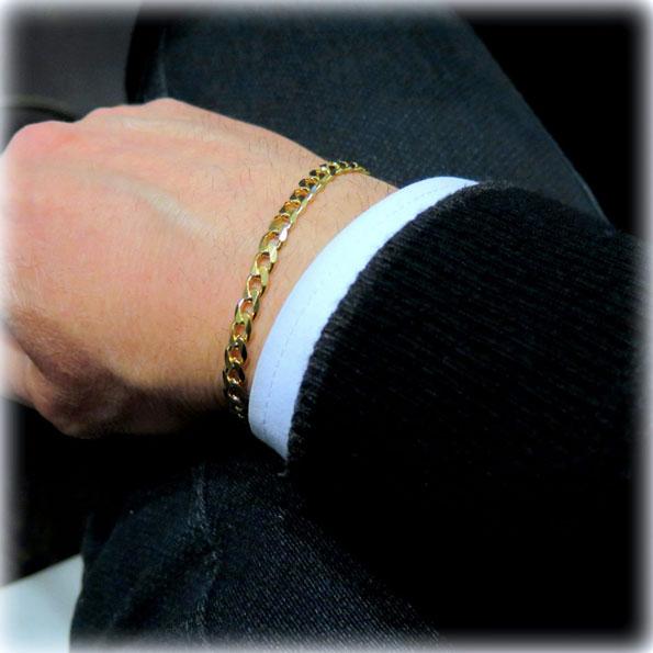 Bracciale uomo groumette placcata oro giallo in argento 925
