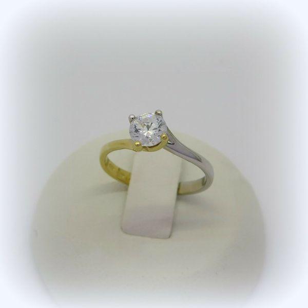 Anello solitario valentino in oro giallo e bianco 18 ct