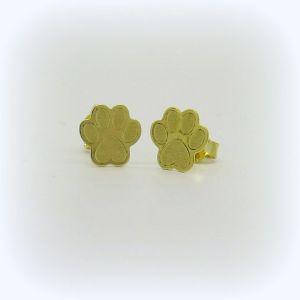 Orecchini zampa zampina cane in oro giallo 18 ct