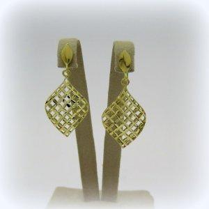 Orecchini pendenti mossa diamantata in oro giallo 18 ct