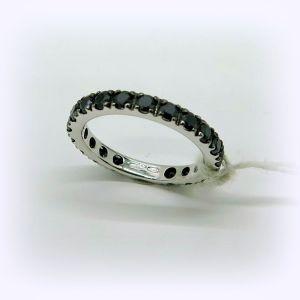 Anello fedina circolare pietre nere in argento 925