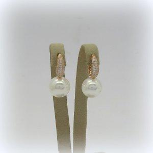 Orecchini pendenti perla in argento placcato oro rosa