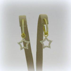 Orecchini pendenti cerchietto stella in argento 925 placcato oro giallo