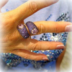 Anello contrariere pietre viola e fucsia in argento