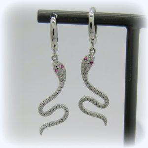 Orecchini pendenti serpente e cerchietto in argento 925