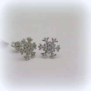 Orecchini fiocco di neve in oro bianco e zirconi