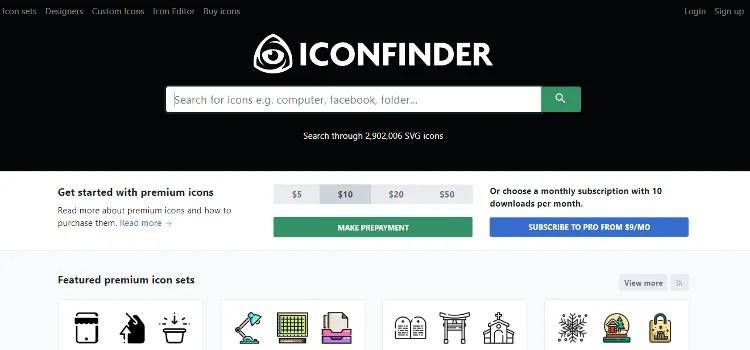 acquisto icone per sito web