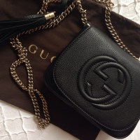 Black leather gucci soho leather chain shoulder bag ...